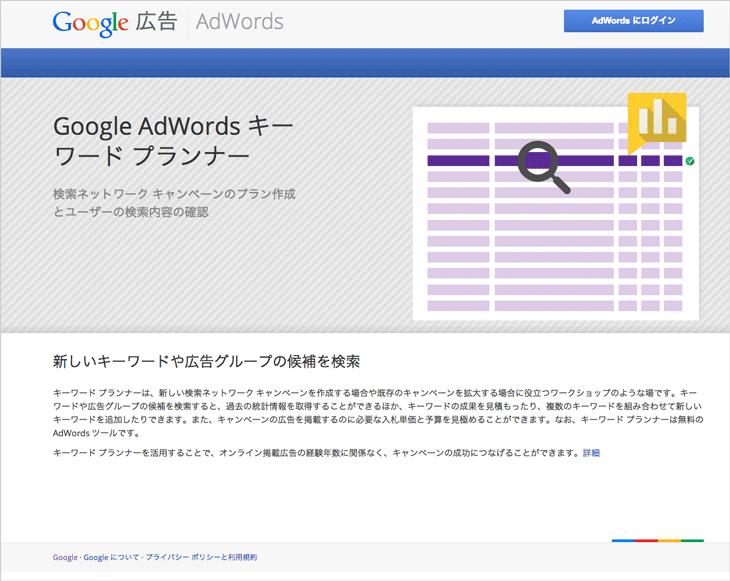 Google Adwordsキーワードツール